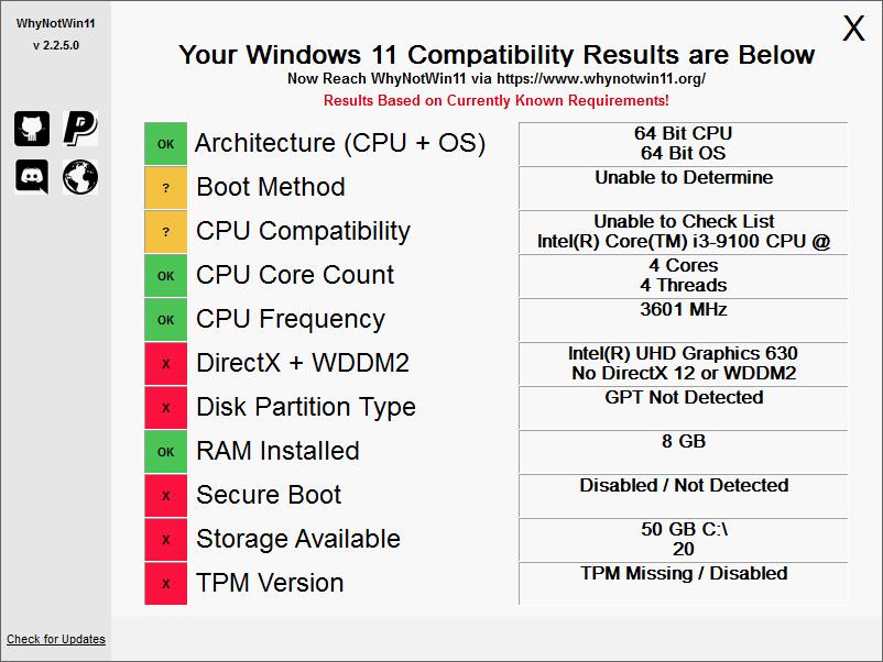 WhyNotWin11 2.2.4.5 win版 -  检测电脑能否升级win11工具