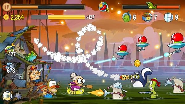 沼泽激战无限金币钻石破解版是一款快节奏的横版射击游戏吗?
